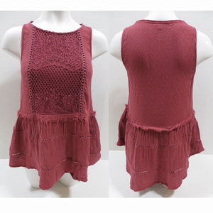 Knox Rose top Small sleeveless crochet lace ladder
